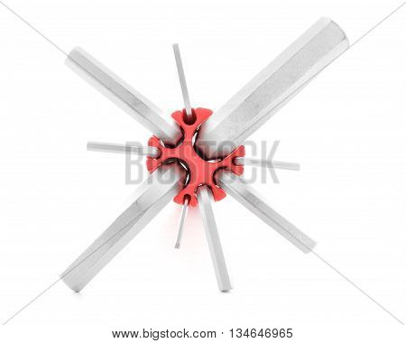 Hexagonal key metal tool for fix isolated on white background