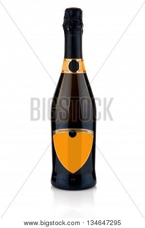 bottle of champange on the white background