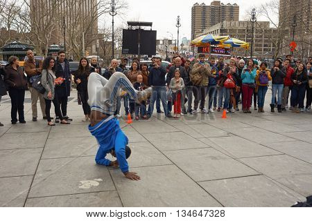 NEW YORK - CIRCA MARCH, 2016: raree show in New York. The City of New York is the most populous city in the United States