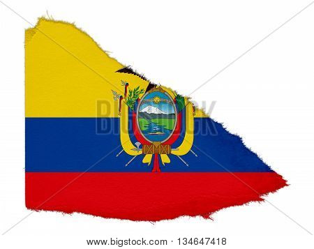 Flag Of Ecuador Torn Paper Scrap Isolated On White Background