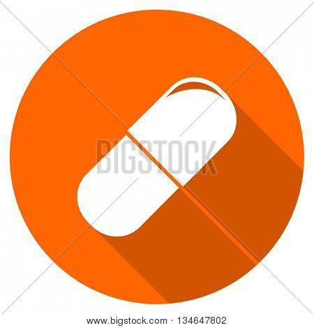 drugs vector icon, orange circle flat design internet button, web and mobile app illustration