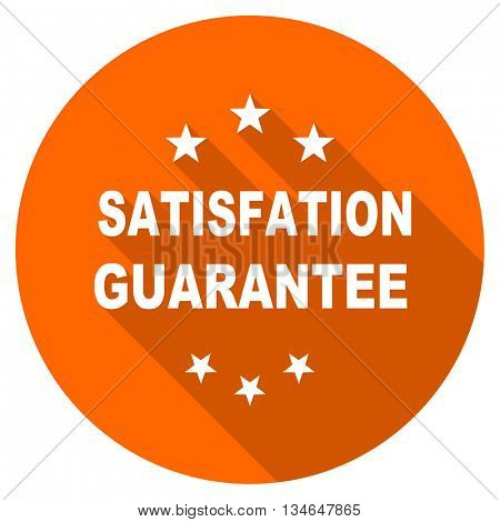 satisfaction guarantee vector icon, orange circle flat design internet button, web and mobile app illustration