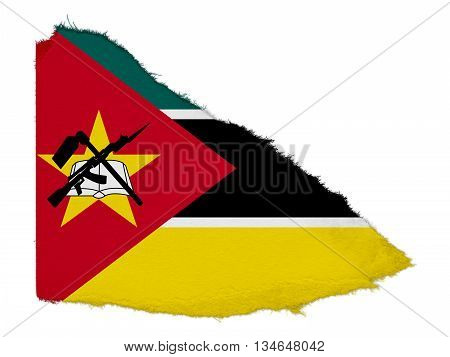 Flag Of Mozambique Torn Paper Scrap Isolated On White Background