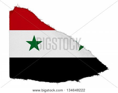 Flag Of Syria Torn Paper Scrap Isolated On White Background