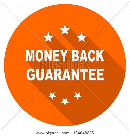 money back guarantee vector icon, orange circle flat design internet button, web and mobile app illustration