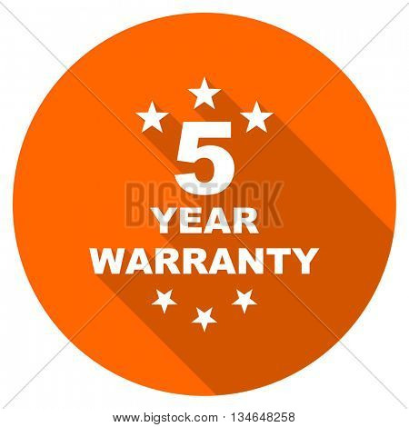 warranty guarantee 5 year vector icon, orange circle flat design internet button, web and mobile app illustration