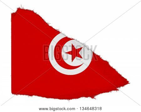Flag Of Tunisia Torn Paper Scrap Isolated On White Background