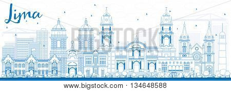 Outline Lima Skyline with Blue Buildings. Vector Illustration. Business Travel and Tourism Concept with Lima City.