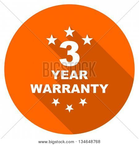 warranty guarantee 3 year vector icon, orange circle flat design internet button, web and mobile app illustration
