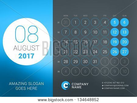 Calendar Template For August 2017. Vector Design Print Template With Place For Photo, Company Logo,