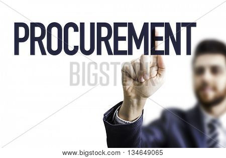 Business man pointing the word: Procurement