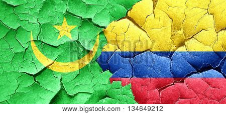 Mauritania flag with Colombia flag on a grunge cracked wall
