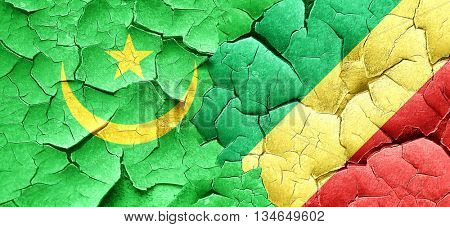 Mauritania flag with congo flag on a grunge cracked wall