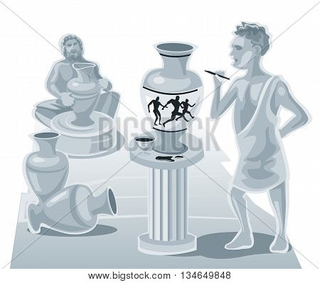 Painter painting on a clay pot and the potter makes pots. Vector flat illustration.