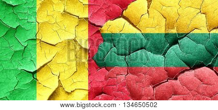 Mali flag with Lithuania flag on a grunge cracked wall
