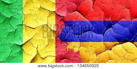 Mali flag with Armenia flag on a grunge cracked wall