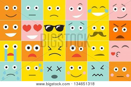 Set square emoticons with different emotions vector illustration