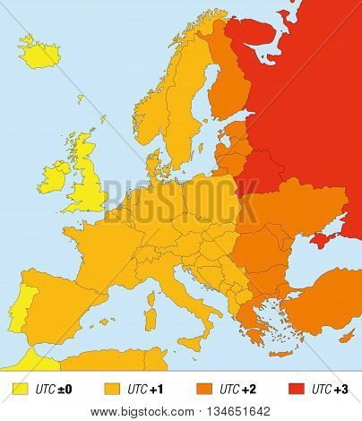 Time zone map of Europe, standard time. Universal Time - UTC, plus added hours in the respective countries.