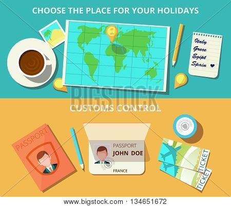 Airport horizontal banner set with world map and customs control elements isolated vector illustration
