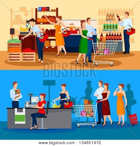 Customers of supermarket compositions with choice of products and queue to cashier isolated vector illustration