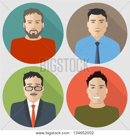 Set of flat men icons. Four different images of men. Can be used for the websites, blogs and forums