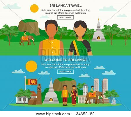 Color flat horizontal banner about Sri Lanka culture and travel in the country vector illustration