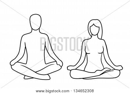 Man and woman of lotus yoga pose. Lotus pose. Vector illustration for icon web. Isolated on white background. For web logotype icon banner poster.
