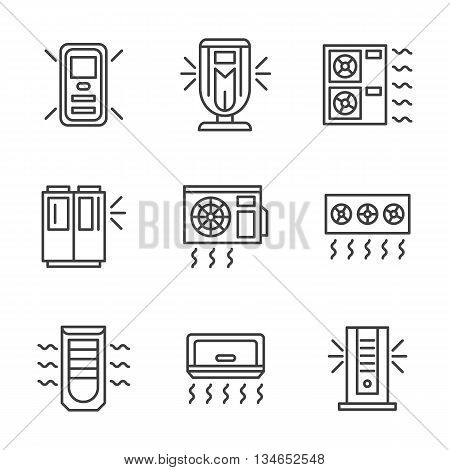Air conditioners and air filter cleaning systems. Climatic equipment and appliances. Vector collection of simple black line style icons.