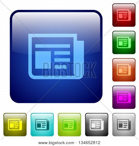 Set of news color glass rounded square buttons