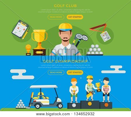 Golf club and championship horizontal green and blue banners with players golf car and equipment flat vector illustration