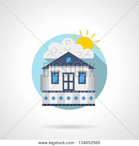 Exterior of house with blue roof and film strip, sunny sky. Cinema house concept. Film premiere. Round detailed flat color style vector icon. Web design elements.