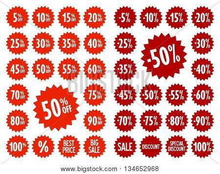 Sale vector label icons. Discount stickers set for shop, retail, promotion. Best price, big sale, 50% off, -50%, special offer, discount icons.