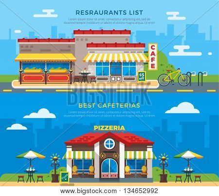 Best cafeterias and restaurants list banners with nice colorful cafe and pizzeria buildings on city background flat vector illustration