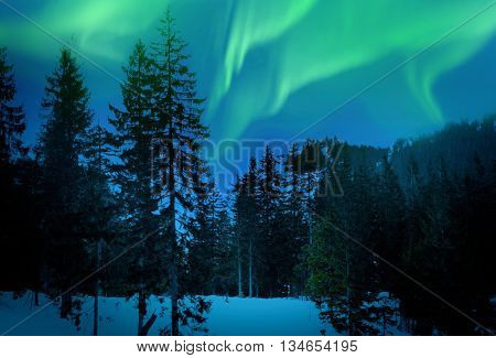 Beautiful landscape with northern lights