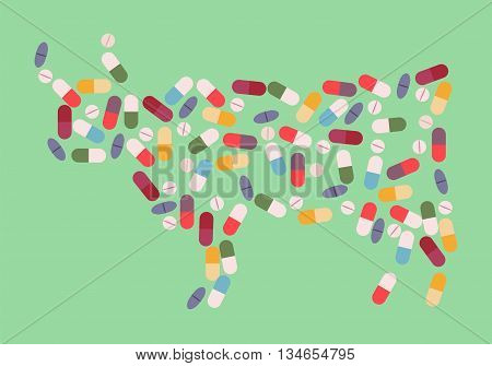 Cow by drug pills concept. Vector illustration for antibiotic resistance modern pharmacology in cattle breeding excessive medication of domestic animals
