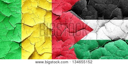 Mali flag with Palestine flag on a grunge cracked wall