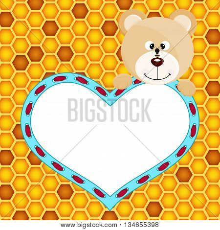 Scalable vectorial image representing a Teddy bear with heart on honeycomb background.