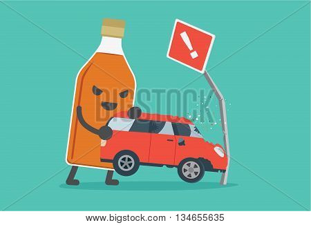 Liquor bottles lifting a car crashes into road signs. This illustration description to driving while drunk is case car accident.