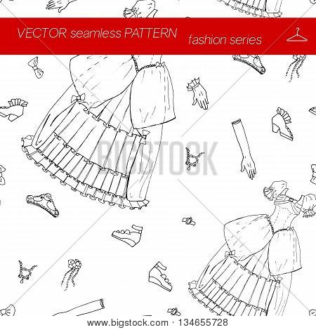 Seamless pattern. Fashion set of fairy princess ball for the masquerade Halloween Christmas party. Illustration in hand drawing style.