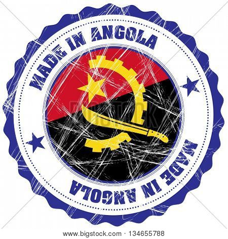 Made in Angola grunge rubber stamp with flag