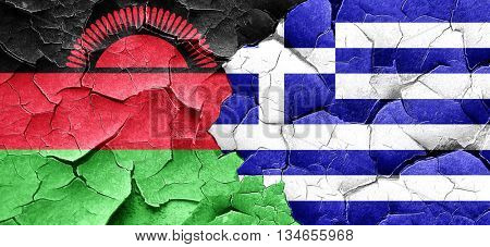 Malawi flag with Greece flag on a grunge cracked wall