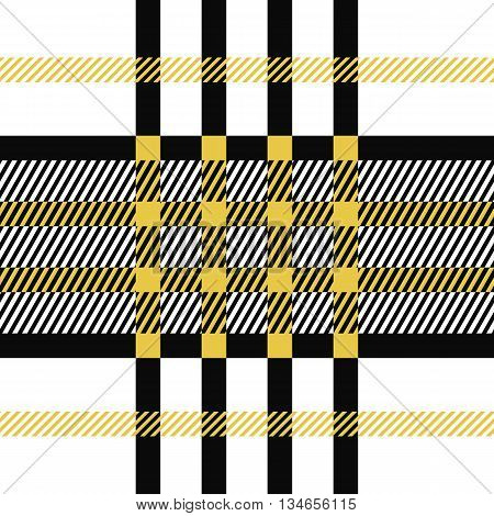 Seamless tartan pattern. Plaid yellow black white palette repeated tartan pattern. Twill texture Vector illustration.