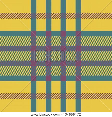 Seamless tartan pattern. Plaid yellow pink blue palette repeated tartan pattern. Twill texture Vector illustration.