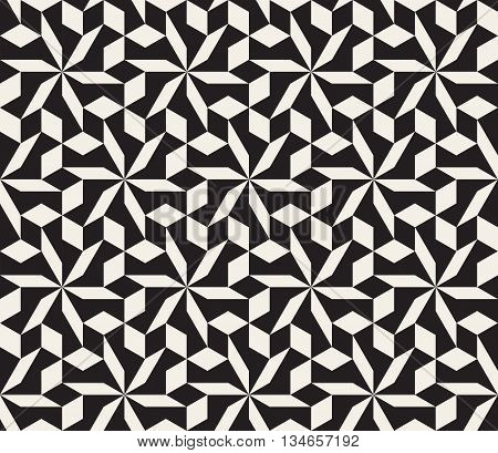 Vector Seamless Black And White Geometric Tessellation Pattern