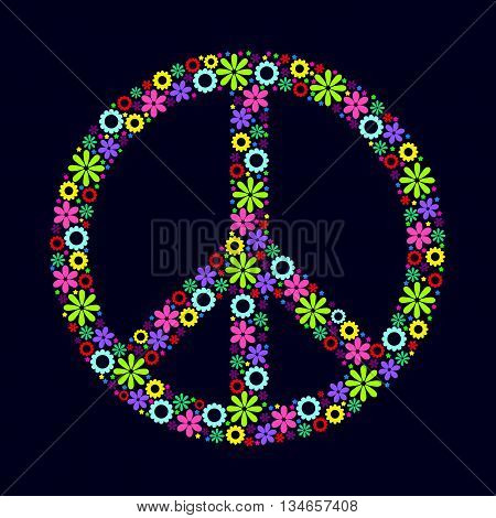 A symbol of peace Pacific made up of flowers. Logo. Vector image. Hippie style.