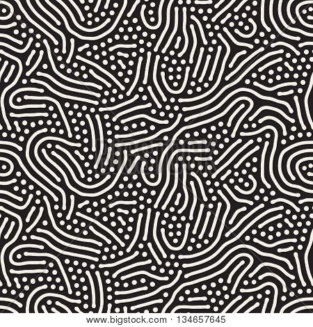Vector Seamless Black And White Jumble Organic Shapes Pattern