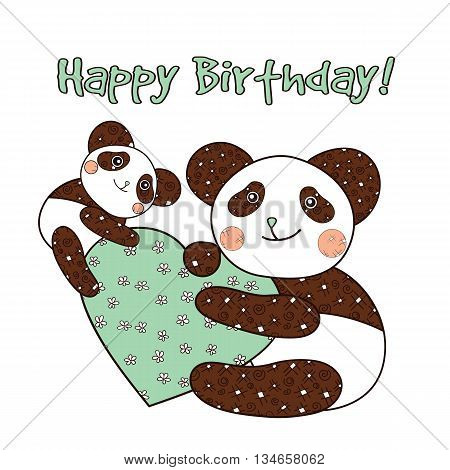 Panda with heart happy bithday card. Vector illustration.