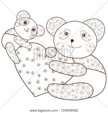 Kid coloring book page Cute Panda with heart and baby panda. Brown outline. Whimsical line art Vector illustration.