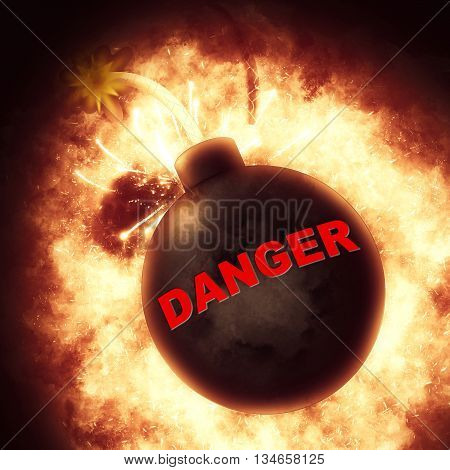 Danger Bomb Indicates Explosive Dangerous And Hazard