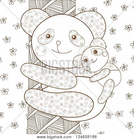 Kid coloring book page Cute panda with baby on tree. Brown outline. Whimsical line art Vector illustration.
